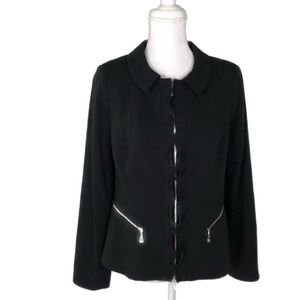 ESCADA Black Zipper Ruffle Blazer Jacket